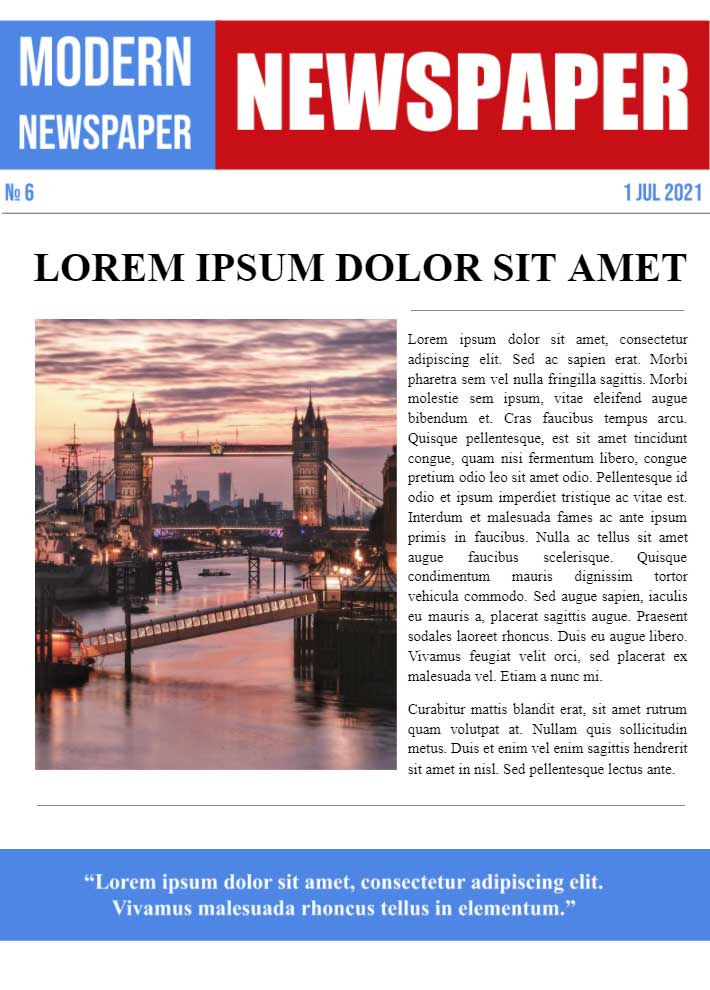 Modern Newspaper Page 3 Template for Google Docs