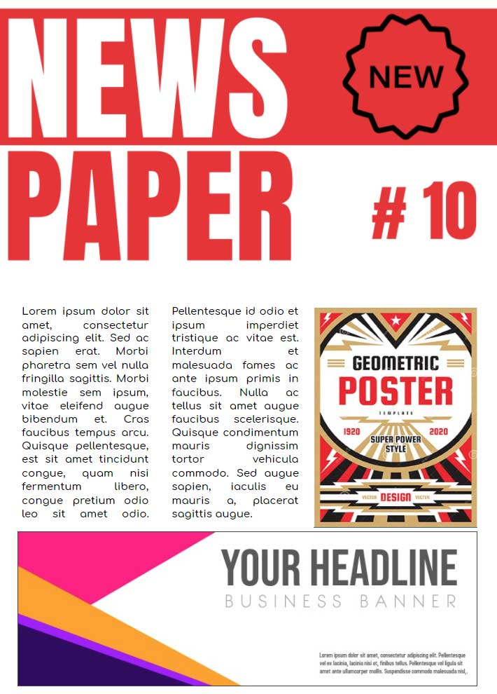 Newspaper AD Template for Google Docs