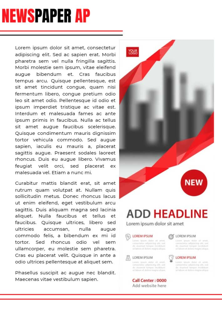 Newspaper AD Page 2 Template for Google Docs