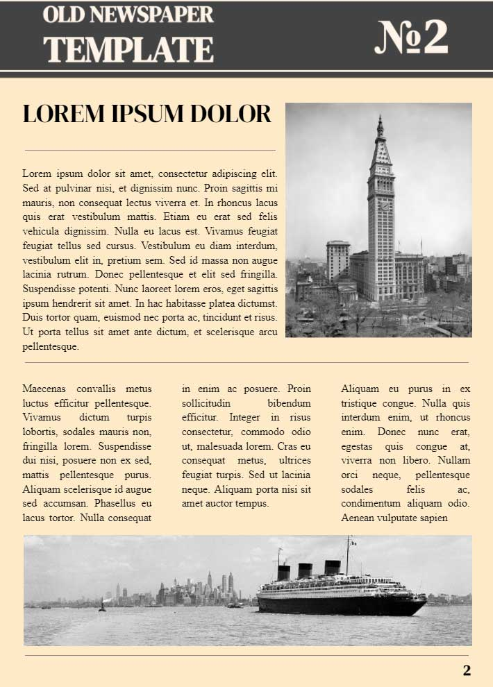 Old Fashioned Newspaper Page 2 Template for Google Docs