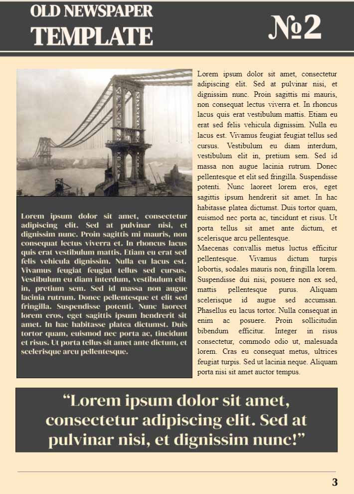 Old Fashioned Newspaper Page 3 Template for Google Docs
