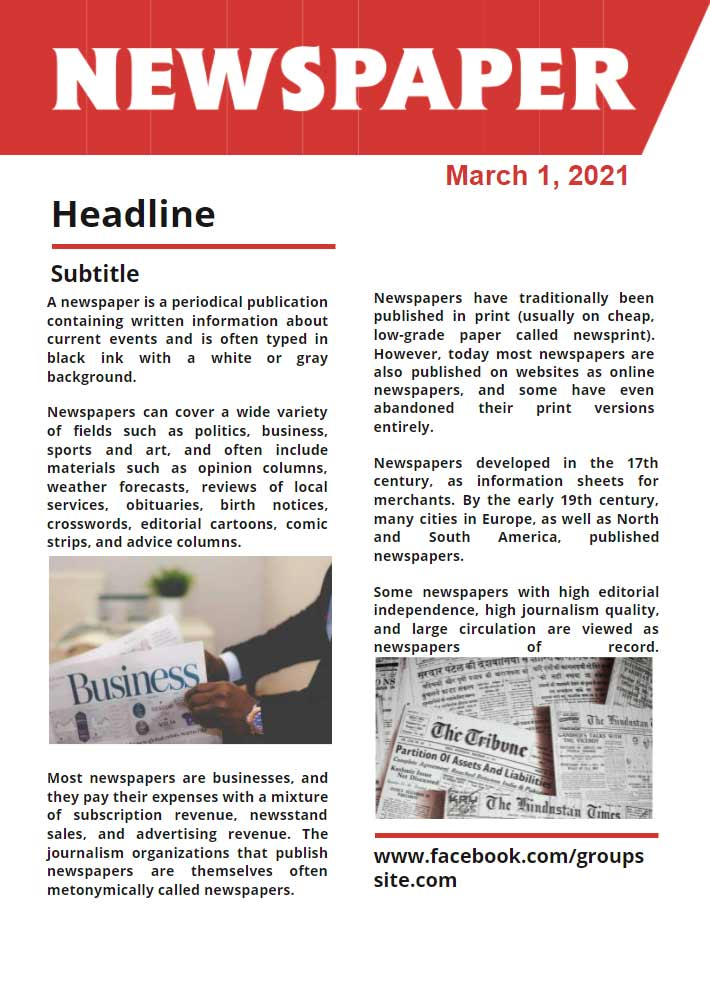 Newspaper Front Page Template for Google Docs