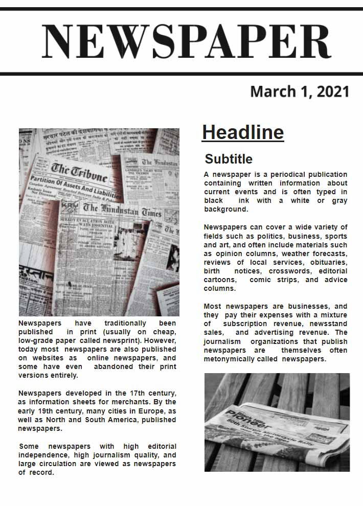 Simple Newspaper Template for Google Docs