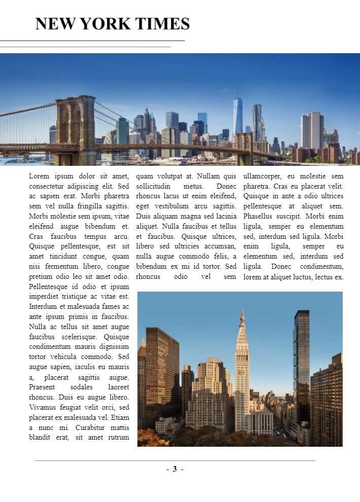 New York Times Page 3 Template for Google Docs