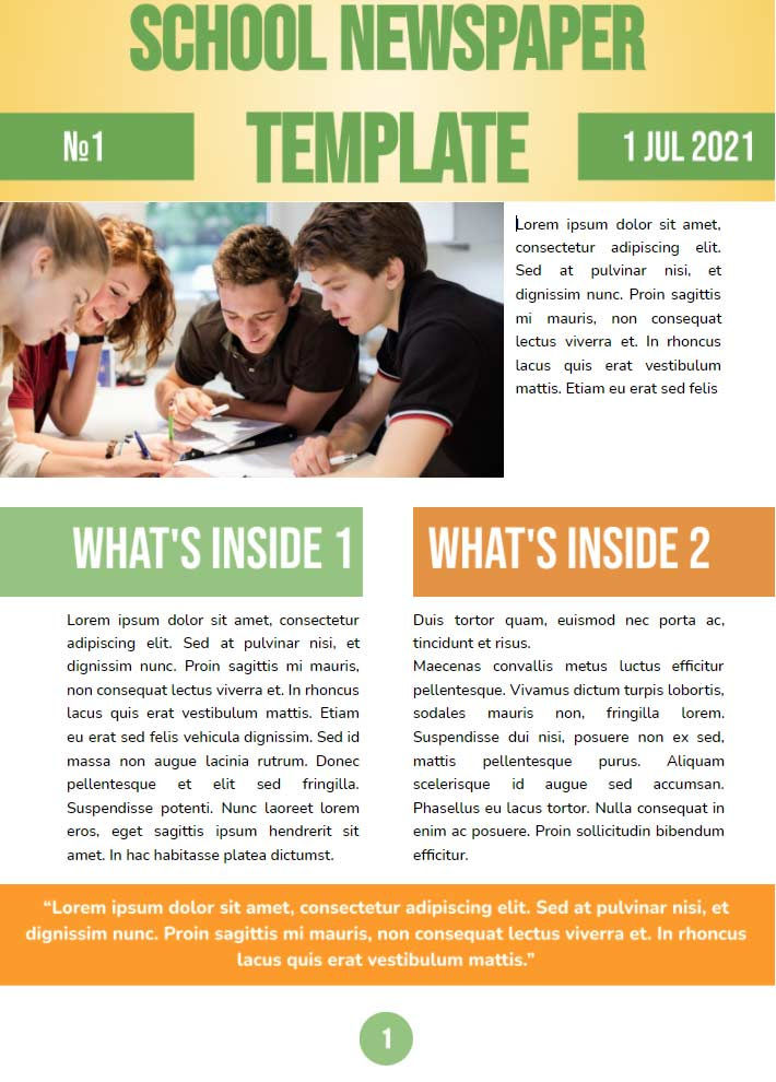 Middle School Newspaper Template for Google Docs