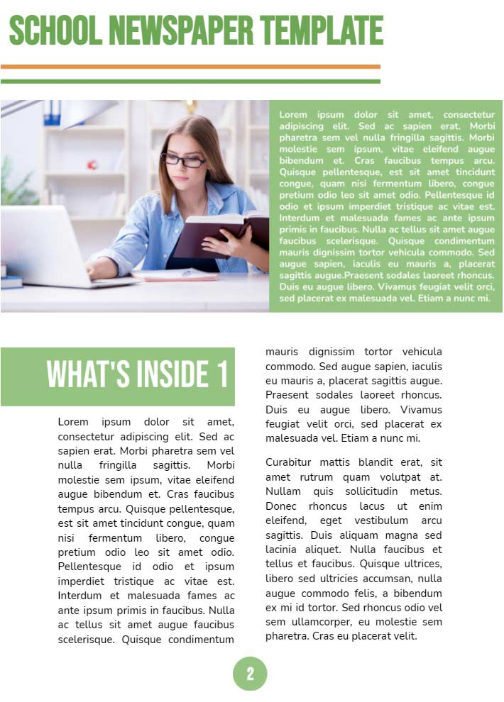 Middle School Newspaper Page 2 Template for Google Docs