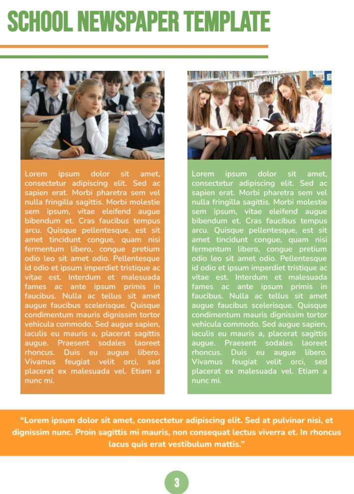 Middle School Newspaper Page 3 Template for Google Docs