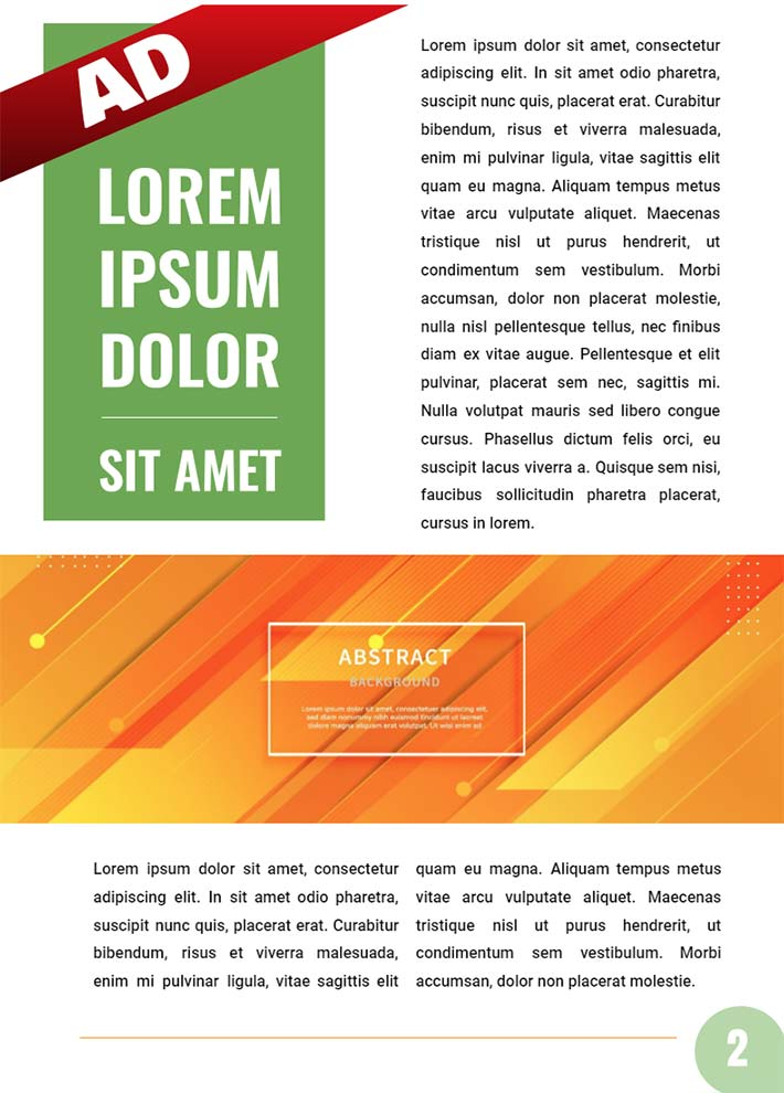 Colourful Magazine AD Page 2 Template for Google Docs