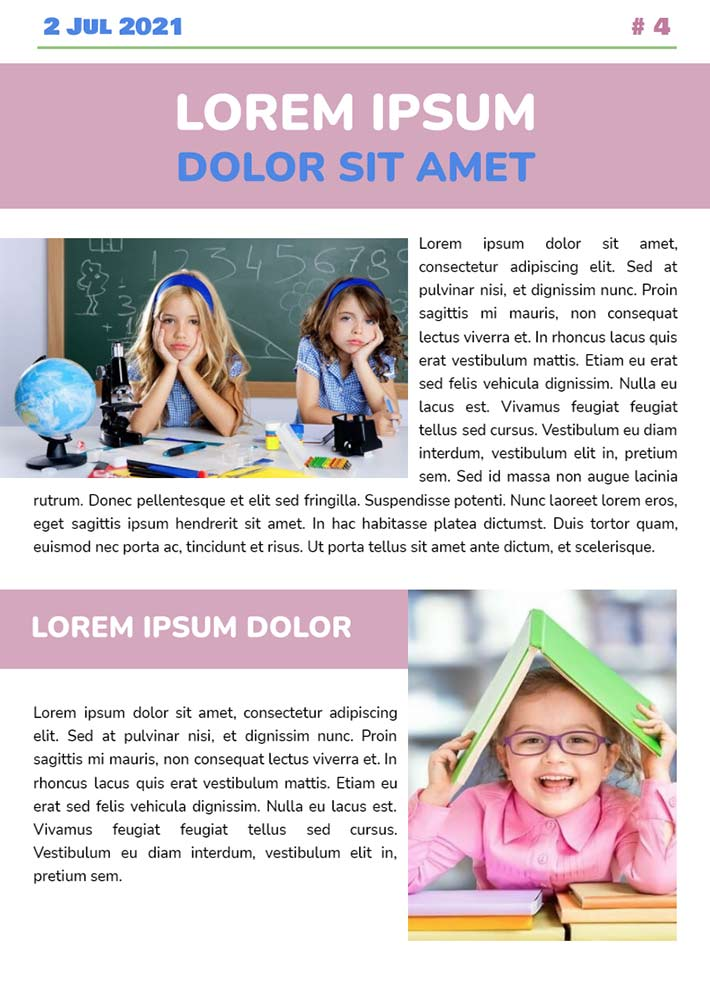 School Newspaper Page 2 Template for Google Docs