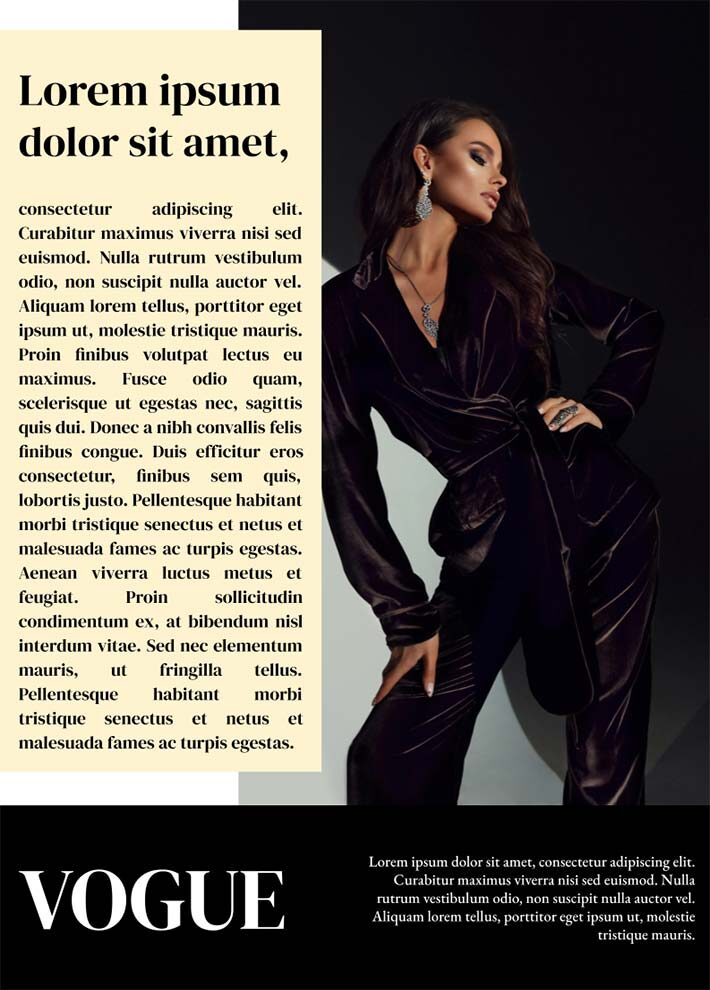 Vogue Magazine Page 3 Template for Google Docs