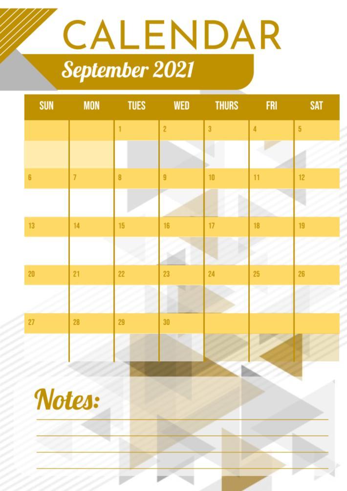 Monthly Calendar Template for Google Docs