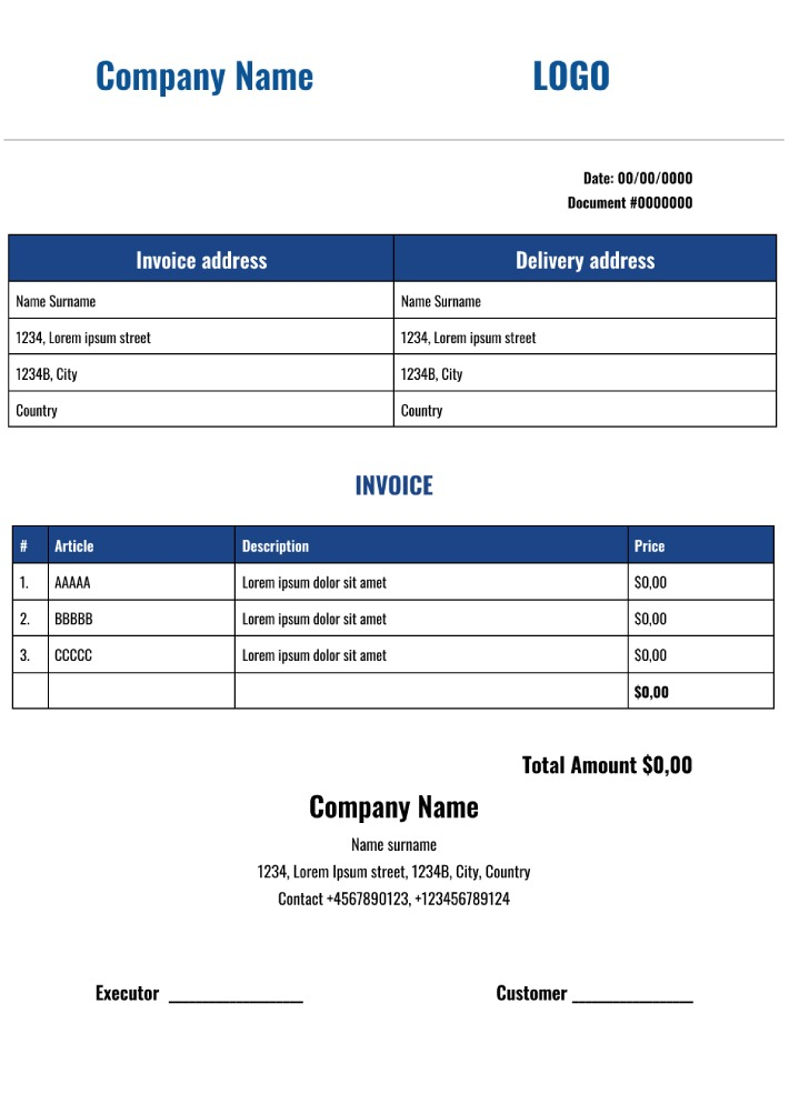 Simple Invoice Template for Google Docs
