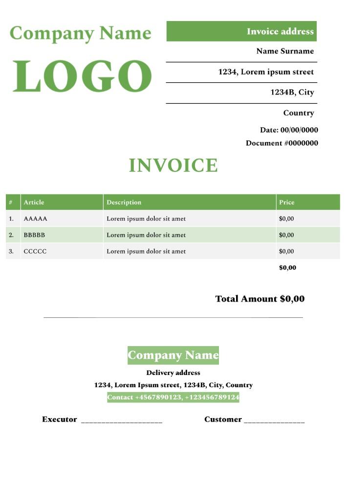 Basic Invoice Template for Google Docs