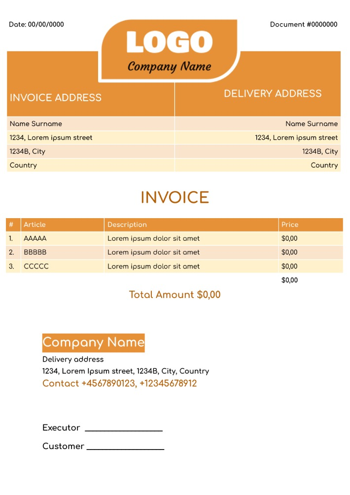Blank Invoice Template for Google Docs