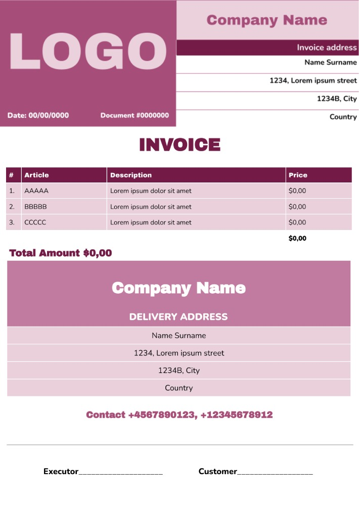 Work Invoice Template for Google Docs
