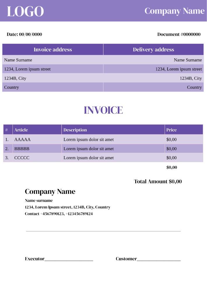 Modern Invoice Template for Google Docs