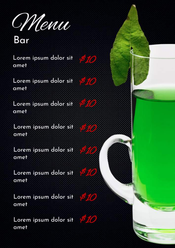 Restaurant Bar Menu Template for Google Docs