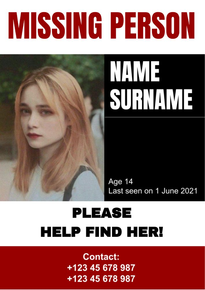 Missing Person Template for Google Docs