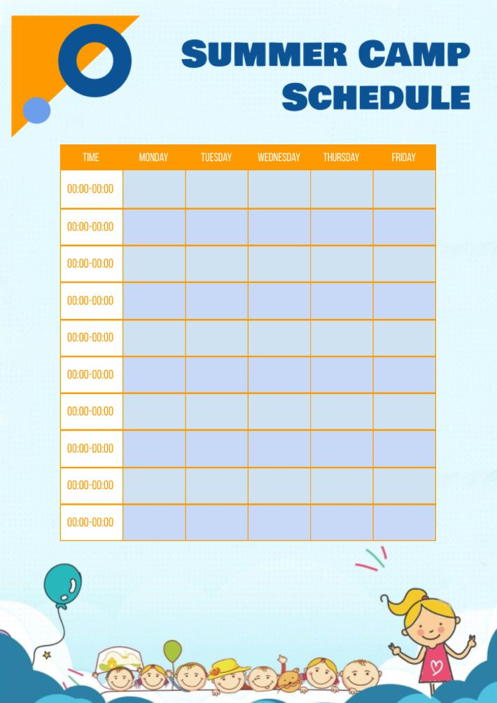 Summer Camp Schedule Template for Google Docs